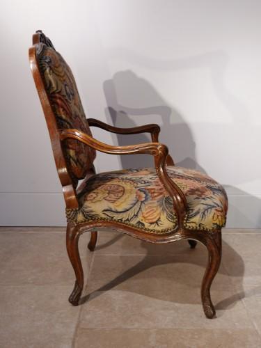 Seating  - French Louis XV walnut armchair, Lyon 18th century