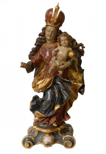 Madonna and Child in polychrome carved wood, 18th century