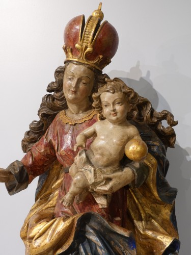 Madonna and Child in polychrome carved wood, 18th century - Sculpture Style Louis XV