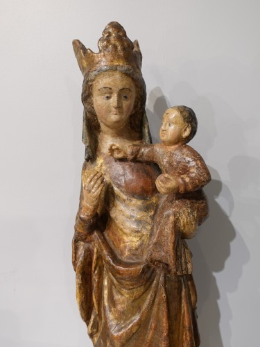 Madonna and Child in carved and polychrome wood, 14th century - Sculpture Style Middle age