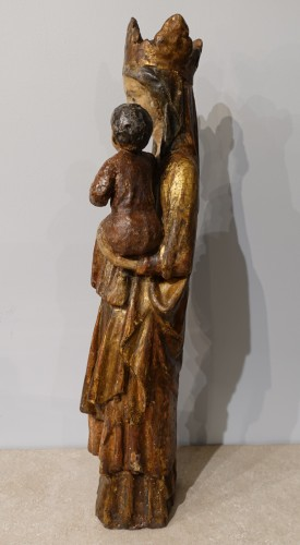 Sculpture  - Madonna and Child in carved and polychrome wood, 14th century