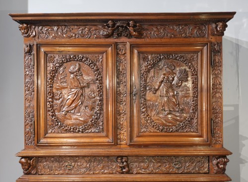 """French Louis XIII sideboard """"Four Seasons"""", early 17th century -"""