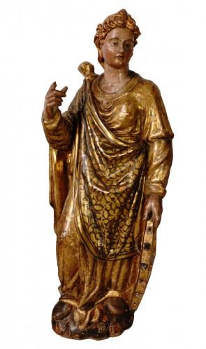 Italian Saint Catherine of Alexandria, polychrome gilded, late 16th century