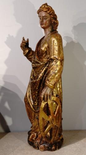 Sculpture  - Italian Saint Catherine of Alexandria, polychrome gilded, late 16th century