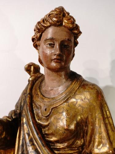 Italian Saint Catherine of Alexandria, polychrome gilded, late 16th century -
