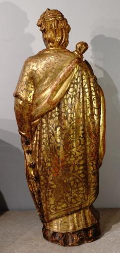 Italian Saint Catherine of Alexandria, polychrome gilded, late 16th century - Renaissance