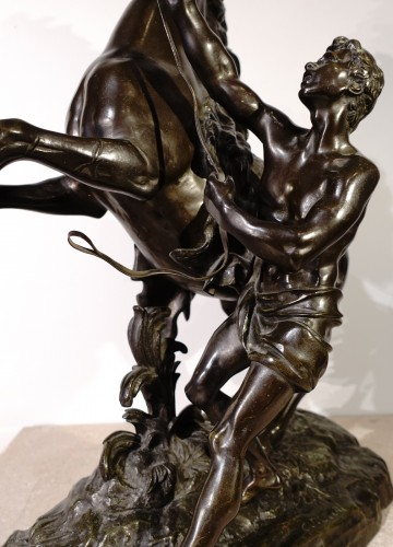 """Napoléon III - """"The horses of Marly"""" after the sculptor Coustou, late 19th century"""