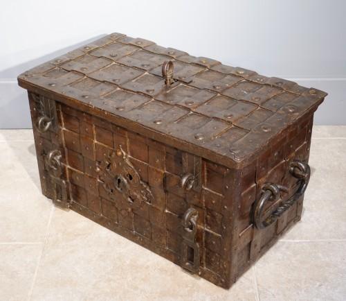 17th century wrought iron marine chest -