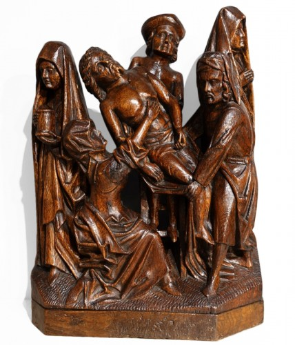 Sculpted oak statuary group from the Flanders region, circa 1470