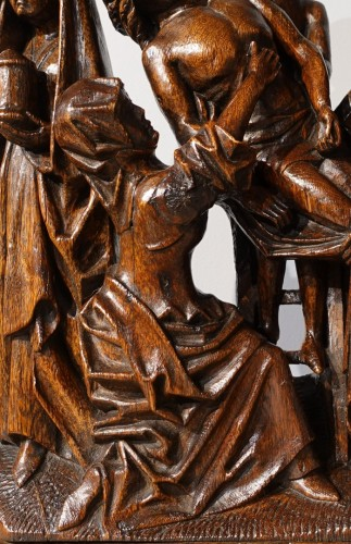 Sculpted oak statuary group from the Flanders region, circa 1470 - Sculpture Style Middle age