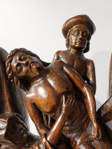11th to 15th century - Sculpted oak statuary group from the Flanders region, circa 1470