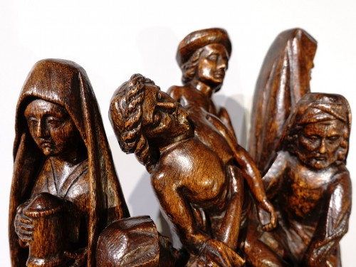 Middle age - Sculpted oak statuary group from the Flanders region, circa 1470