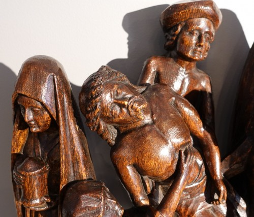 Antiquités - Sculpted oak statuary group from the Flanders region, circa 1470