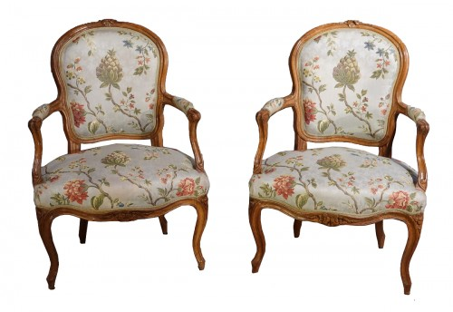 French Louis XV Armchairs in Walnut