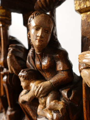 Sculpture  - Nativity In Polychrome Wood, Early 16th Century