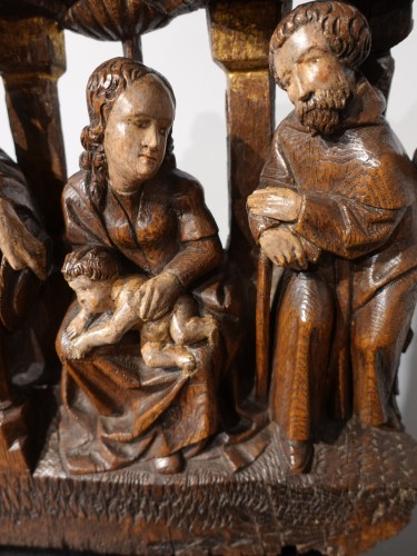 <= 16th century - Nativity In Polychrome Wood, Early 16th Century
