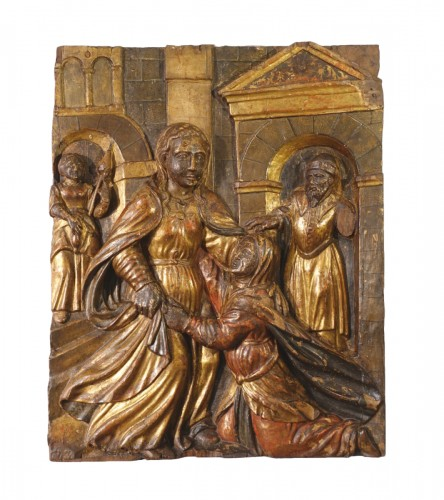 "Italian Low relief representing ""The Visitation"", polychrome wood, early 17"