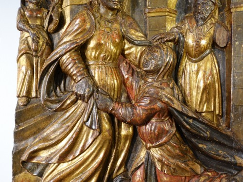 "Sculpture  - Italian Low relief representing ""The Visitation"", polychrome wood, early 17"