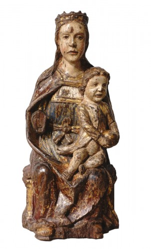 Virgin In Majesty,  Polychrome Wood, Spain, Late 16th Century - Early 17th