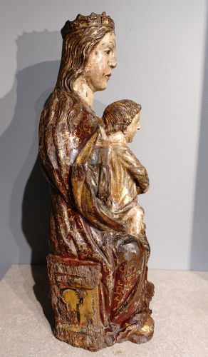 Virgin In Majesty,  Polychrome Wood, Spain, Late 16th Century - Early 17th  - Sculpture Style Renaissance