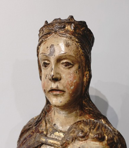 Virgin In Majesty,  Polychrome Wood, Spain, Late 16th Century - Early 17th  -