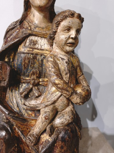 Virgin In Majesty,  Polychrome Wood, Spain, Late 16th Century - Early 17th  - Renaissance