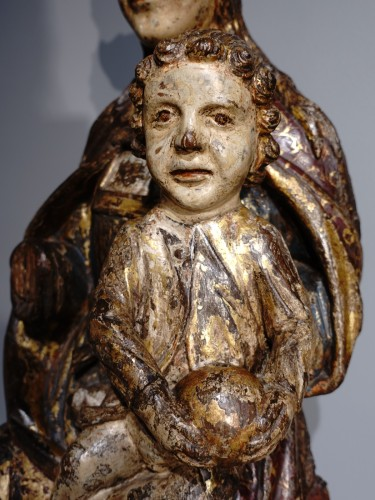 Renaissance - Virgin In Majesty,  Polychrome Wood, Spain, Late 16th Century - Early 17th