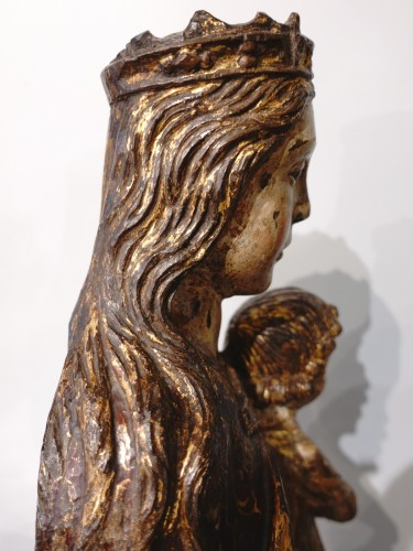 Antiquités - Virgin In Majesty,  Polychrome Wood, Spain, Late 16th Century - Early 17th