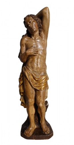 Saint Sebastian In Carved Wood 17th Century