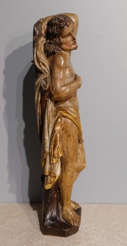 Saint Sebastian In Carved Wood 17th Century -