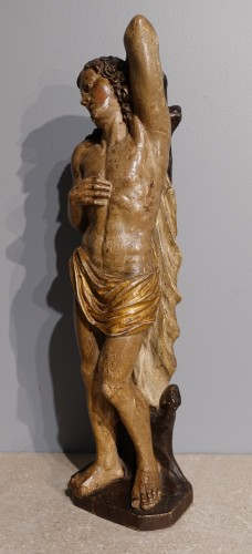 17th century - Saint Sebastian In Carved Wood 17th Century
