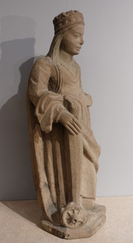French Sainte Catherine, Carved Stone, Late 15th - Early 16th Century - Sculpture Style Renaissance