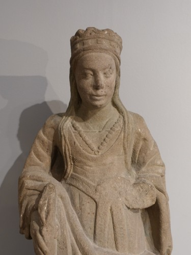 Sculpture  - French Sainte Catherine, Carved Stone, Late 15th - Early 16th Century