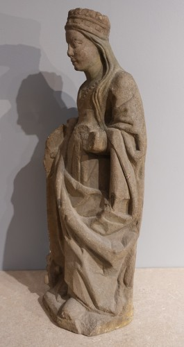 French Sainte Catherine, Carved Stone, Late 15th - Early 16th Century -