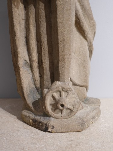 French Sainte Catherine, Carved Stone, Late 15th - Early 16th Century - Renaissance