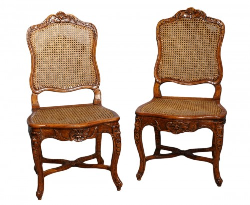 "Pair Of Louis XV Caned Chairs, Stamped ""gourdin"""