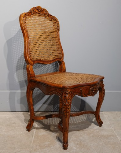 """Pair Of Louis XV Caned Chairs, Stamped """"gourdin"""" - Seating Style Louis XV"""