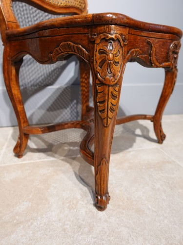 """18th century - Pair Of Louis XV Caned Chairs, Stamped """"gourdin"""""""