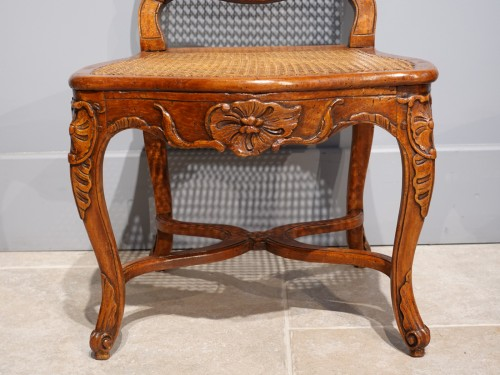 """Louis XV - Pair Of Louis XV Caned Chairs, Stamped """"gourdin"""""""