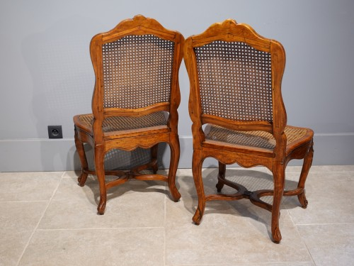 """Antiquités - Pair Of Louis XV Caned Chairs, Stamped """"gourdin"""""""