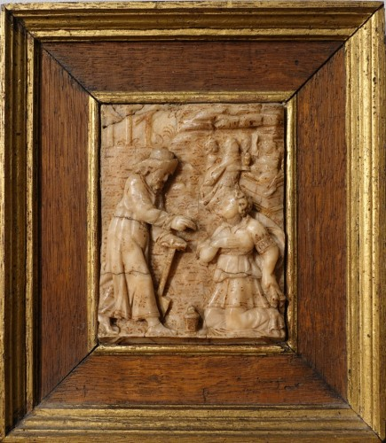 "Alabaster plaque by Nicolaas Daems, ""Noli me tangere"", early 17th century"