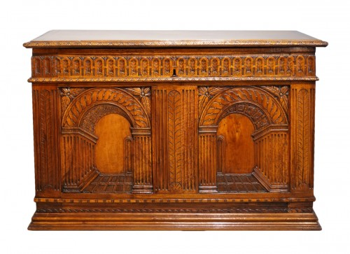 "French Renaissance chest, walnut, decorated with ""perspectives"", 16th centu"