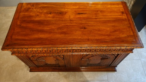 """Furniture  - French Renaissance chest, walnut, decorated with """"perspectives"""", 16th centu"""