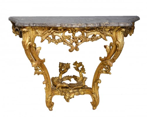 Louis XV console in gilded wood