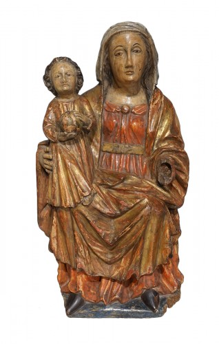 Virgin in Majesty in polychrome wood, 17th century