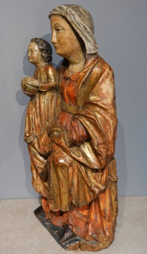 Sculpture  - Virgin in Majesty in polychrome wood, 17th century