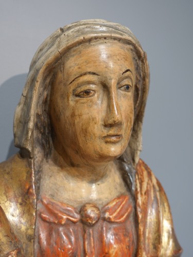 17th century - Virgin in Majesty in polychrome wood, 17th century
