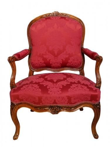 French Louis XV Armchair, Lyon, Walnut