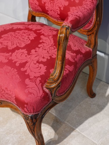 French Louis XV Armchair, Lyon, Walnut -