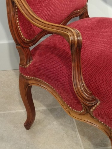 Louis XV - Pair of Louis XV armchairs attributed to Nogaret